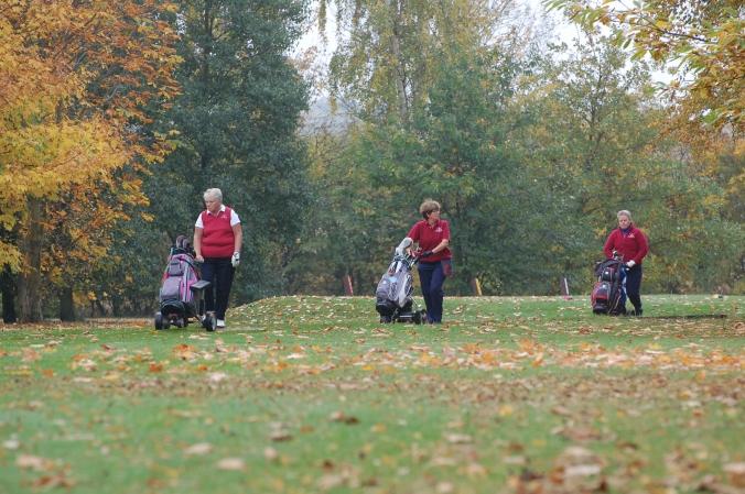 Golfers walking through leaves