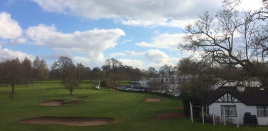 View of 18th green and first tee on the Hawkstone Course