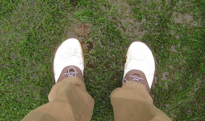 Squelchy, muddy feet.